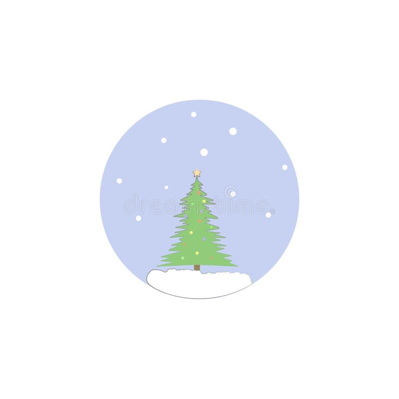 Árvore de Natal, ícone da árvore da decoração Elemento do Natal para apps móveis do conceito e da Web Árvore de Natal colorida, t ilustração stock