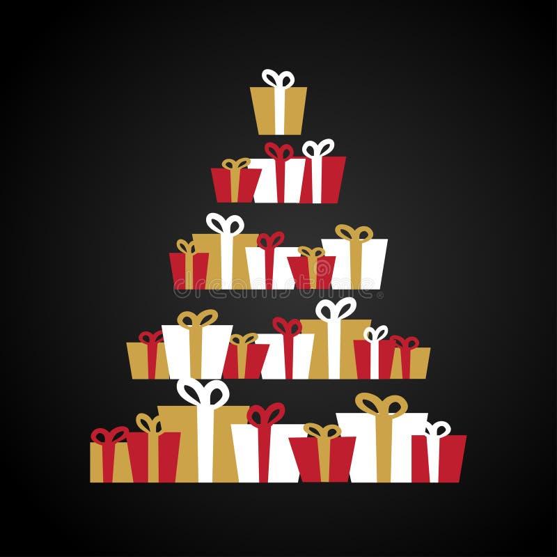 Árvore de Natal abstrata feita das caixas de presente , presentes, Cartão do feriado Vermelho, ouro e ilustração branca ilustração stock