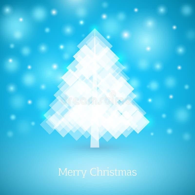 Árvore de Natal abstrata feita dos quadrados brancos ano novo feliz 2007 ilustração royalty free