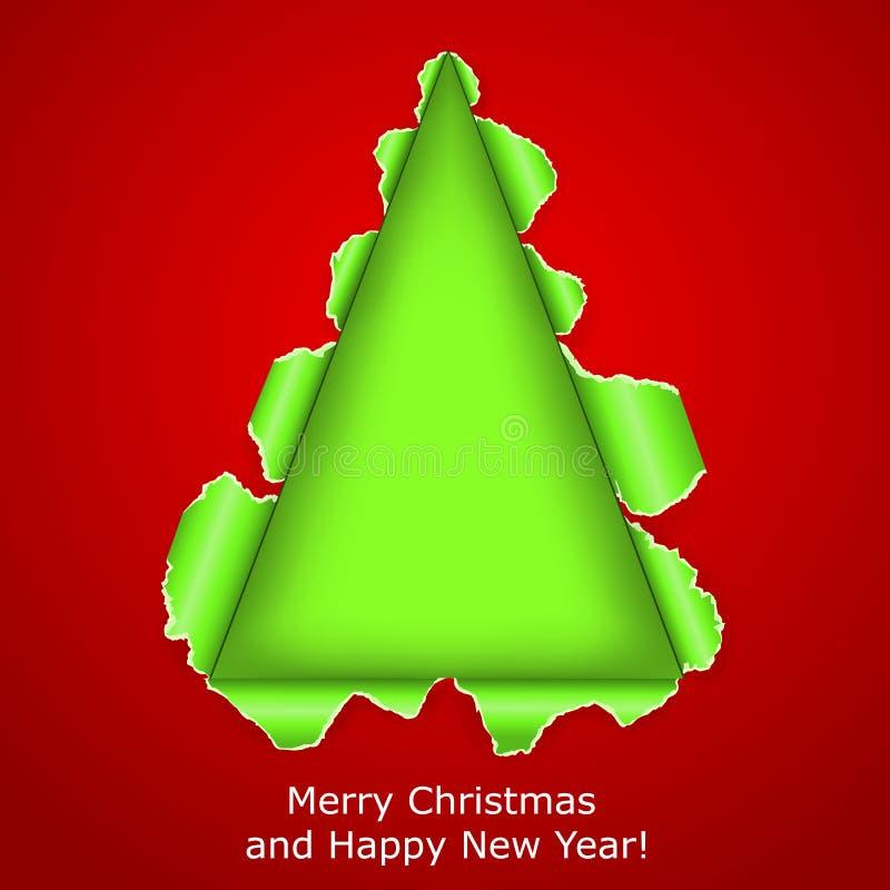 A árvore de Natal abstrata fez o papel rasgado ââof