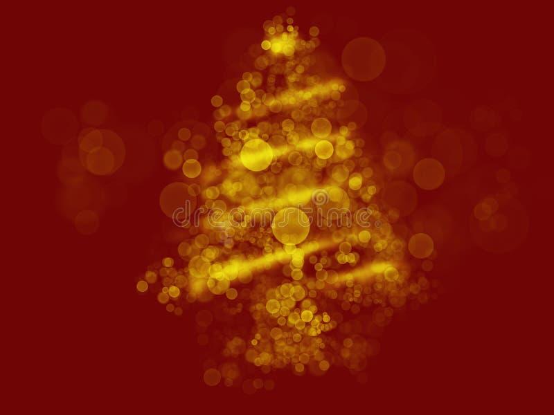 Árvore de Natal abstrata no fundo vermelho, ilustração Bolhas e sparkles dourados na forma da árvore de Natal Cumprimento festivo ilustração do vetor