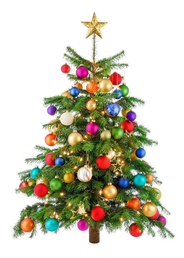 Árvore de Natal alegremente colorida imagens de stock