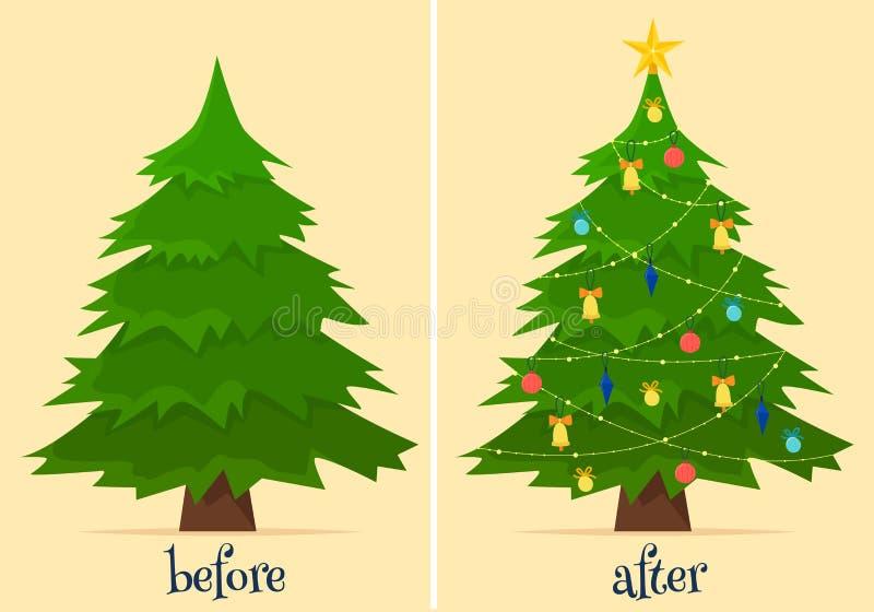 Árvore de Natal antes e depois da decoração Abeto na floresta e na sala com presentes e luzes ilustração do vetor