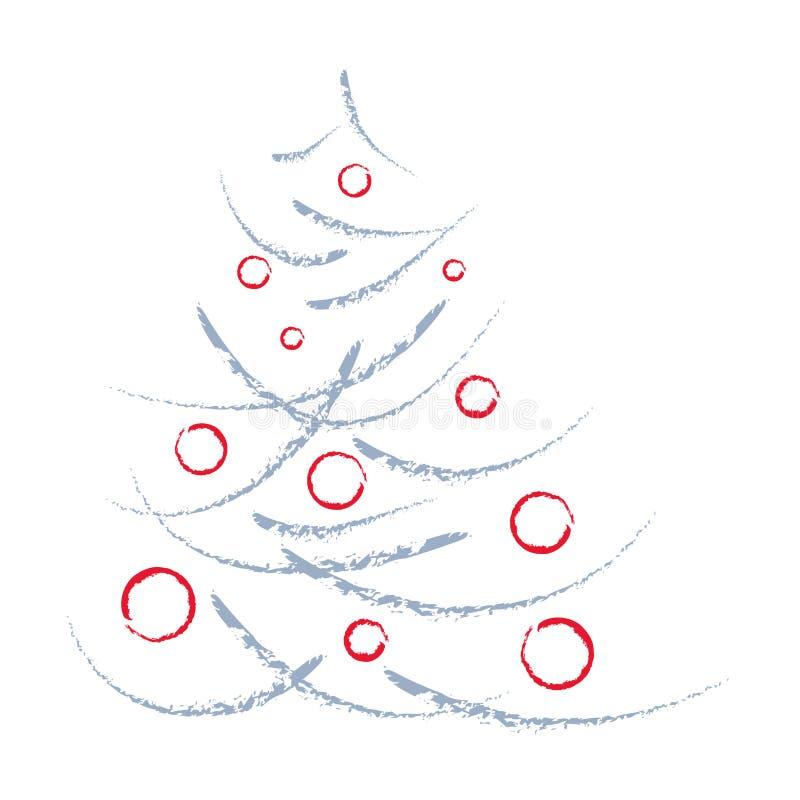 Árvore de Natal artística e esferas vermelhas ilustração do vetor