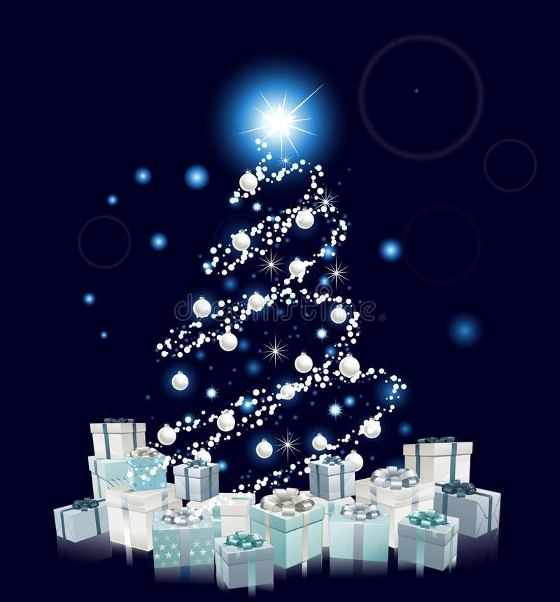 Árvore de Natal azul do estilo moderno ilustração royalty free