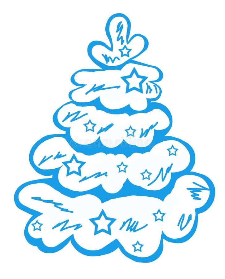 Árvore de Natal azul na neve com as estrelas fotografia de stock
