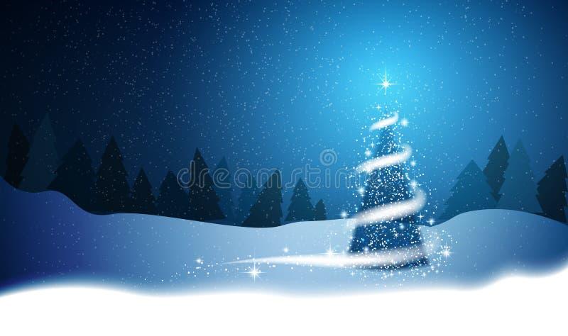 Árvore de Natal, blizzard, estrelas, neve, céu, noite, madeira, azul ilustração royalty free