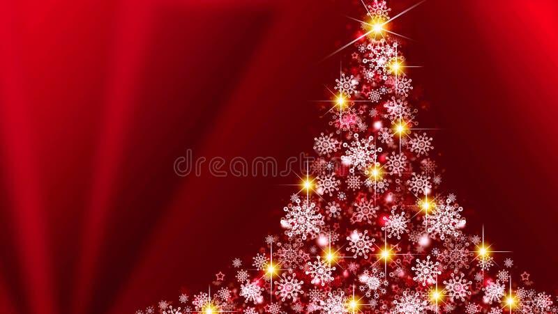 Árvore de Natal branco no fundo vermelho ilustração stock