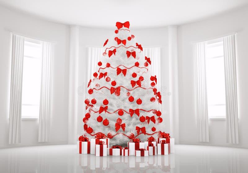Árvore de Natal branco no quarto 3d interior ilustração stock