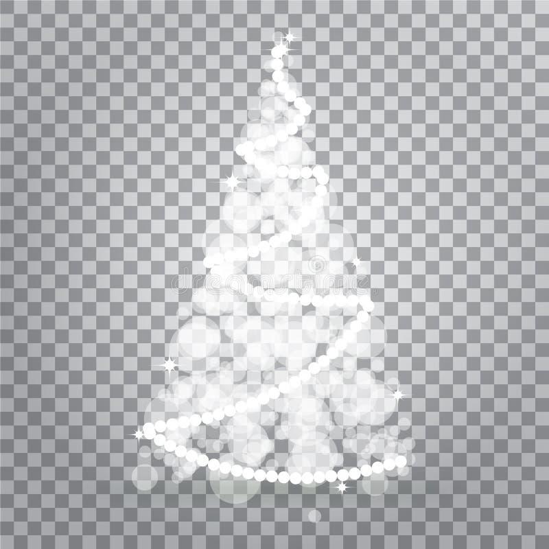 Árvore de Natal brilhante das luzes isoladas no fundo transparente Símbolo da celebração do feriado do ano novo feliz Luz brilhan ilustração stock