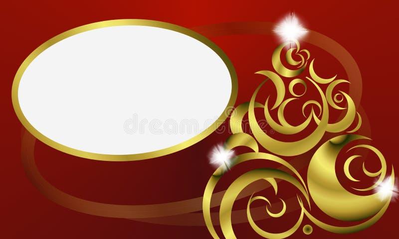 Árvore de Natal carnudo do ouro no fundo vermelho imagem de stock royalty free