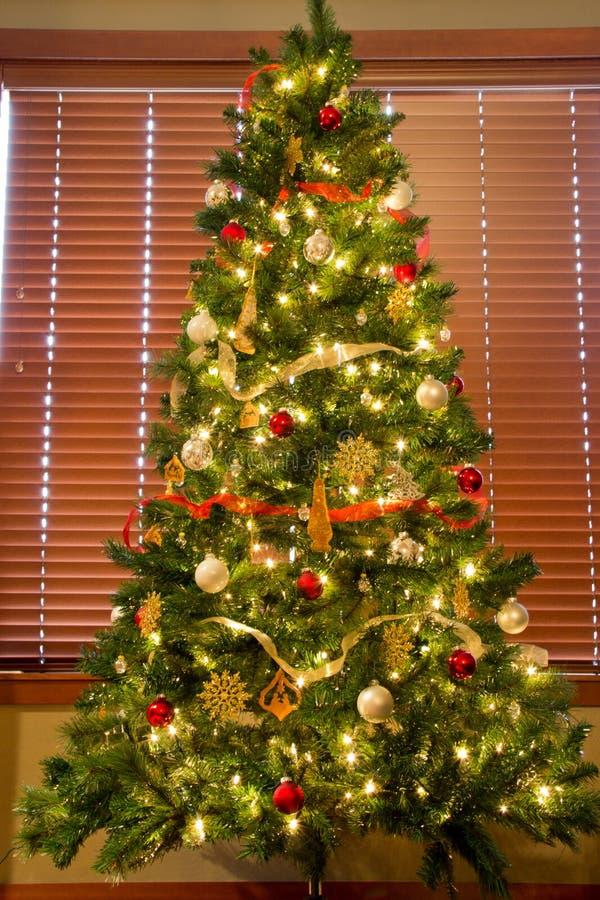Árvore de Natal cheia na frente das cortinas foto de stock royalty free