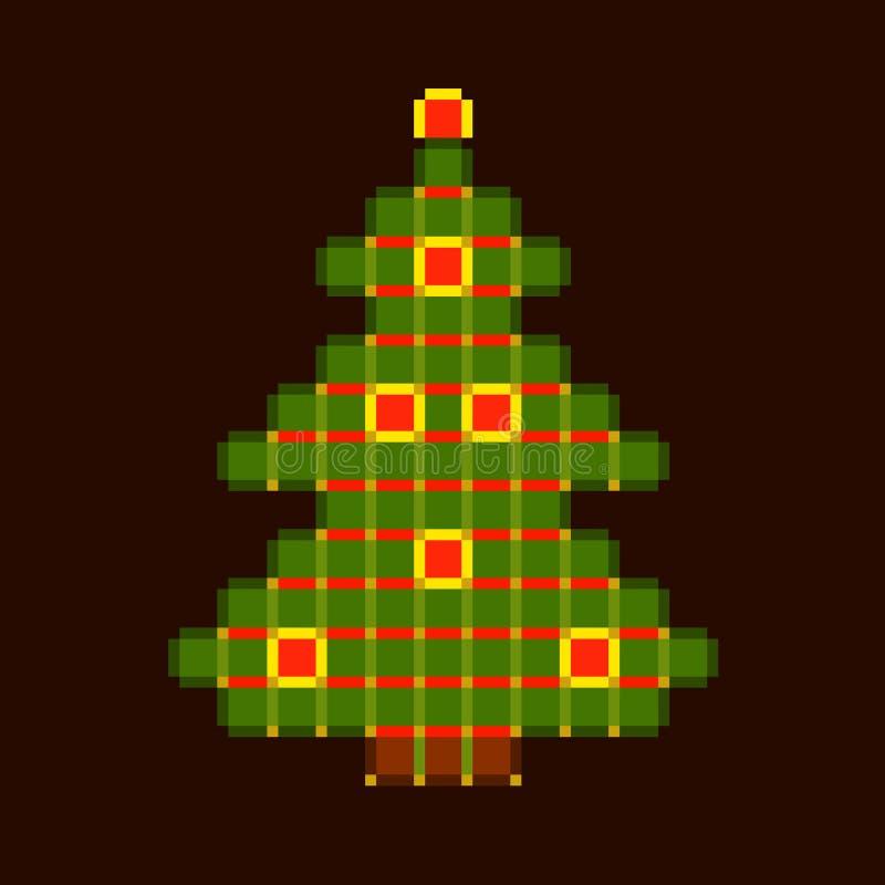 Árvore de Natal colorida das pilhas em um fundo escuro ilustração do vetor