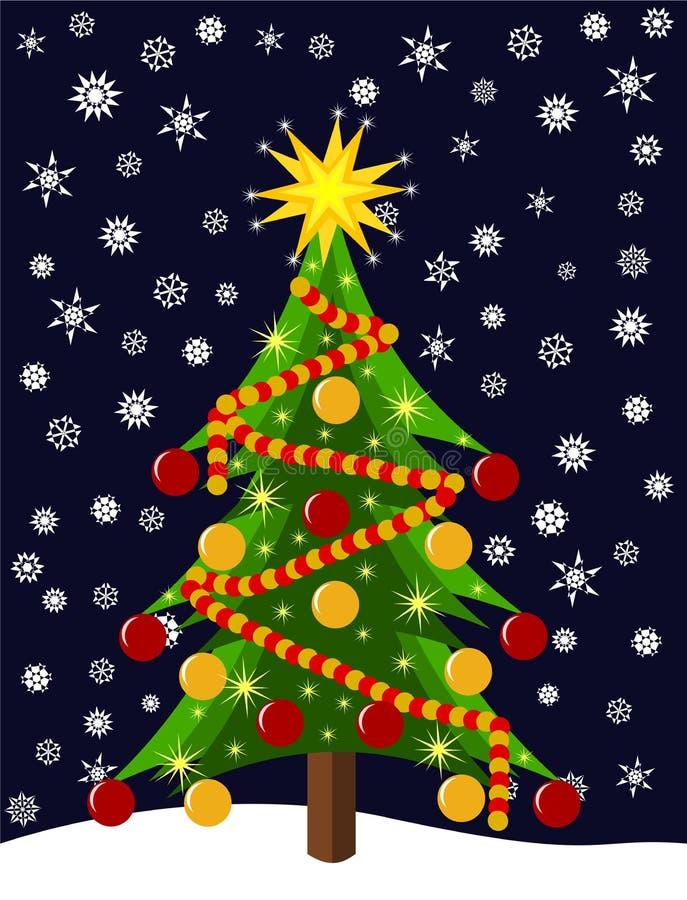 Árvore de Natal colorida na noite ilustração royalty free