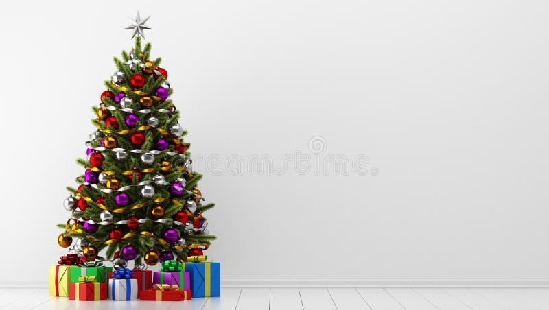 Árvore de Natal com as caixas de presente na sala branca ilustração royalty free