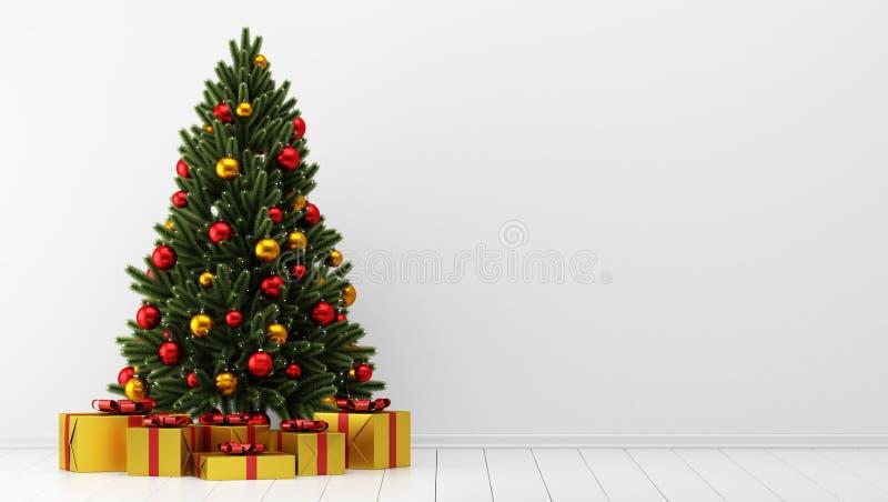 Árvore de Natal com as caixas de presente na sala branca ilustração stock