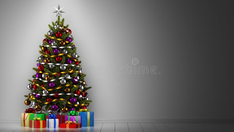 Árvore de Natal com as caixas de presente na sala escura ilustração do vetor