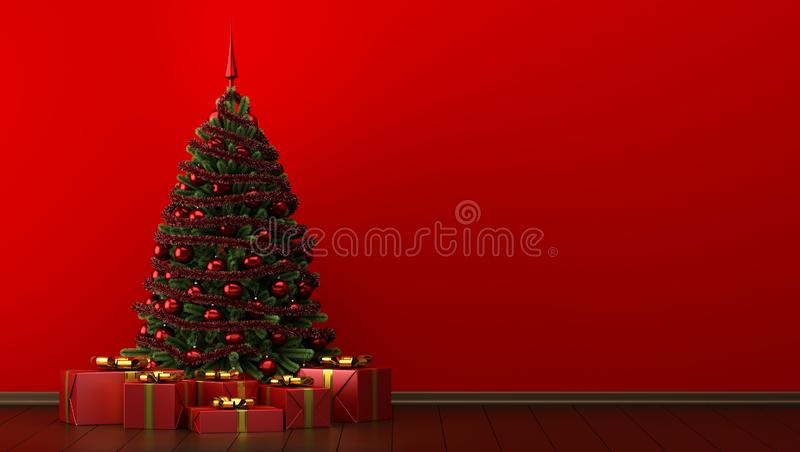 Árvore de Natal com as caixas de presente na sala vermelha illustr 3d ilustração do vetor