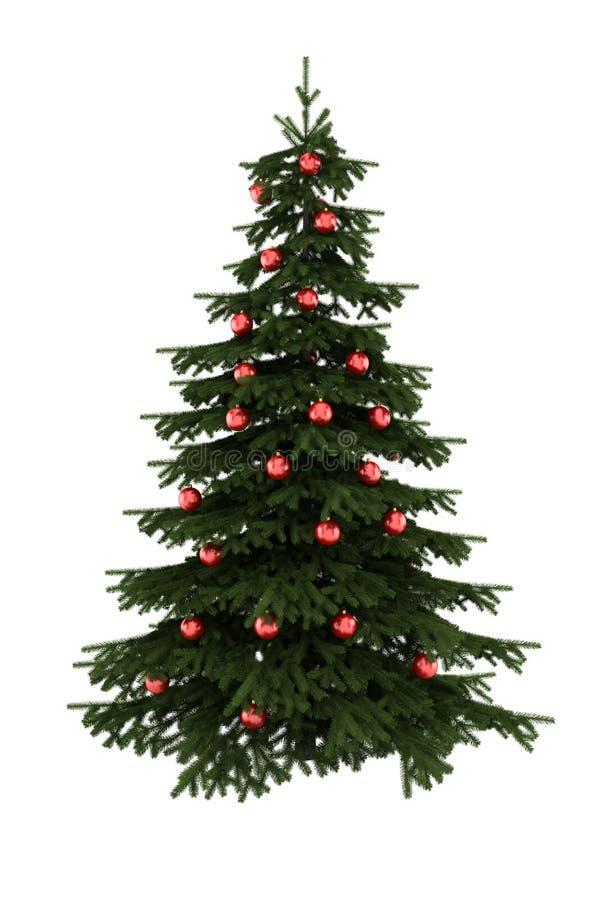 Árvore de Natal com as esferas vermelhas isoladas no branco imagens de stock royalty free