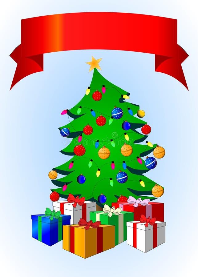 Árvore de Natal com bandeira ilustração royalty free