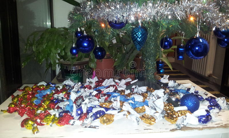 Árvore de Natal com bolas foto de stock royalty free