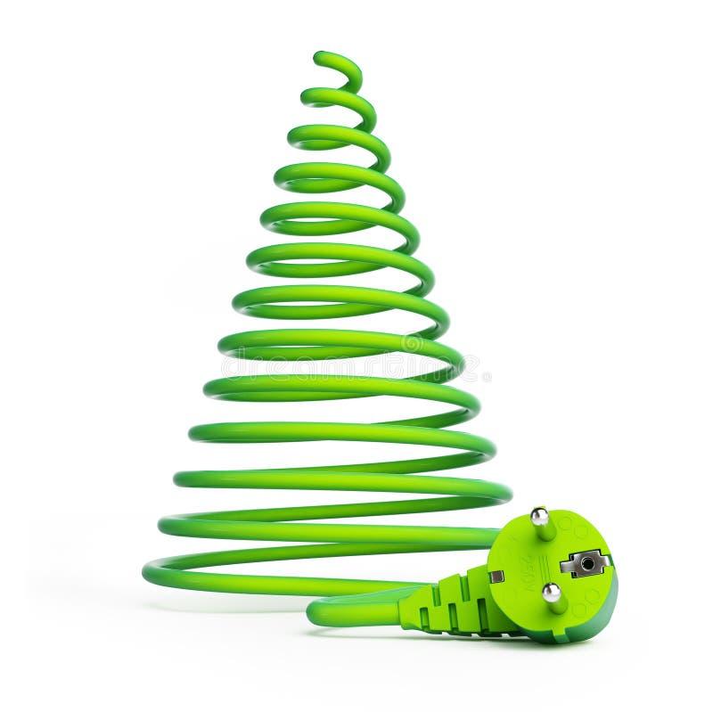 Árvore de Natal com cabos elétricos ilustração stock