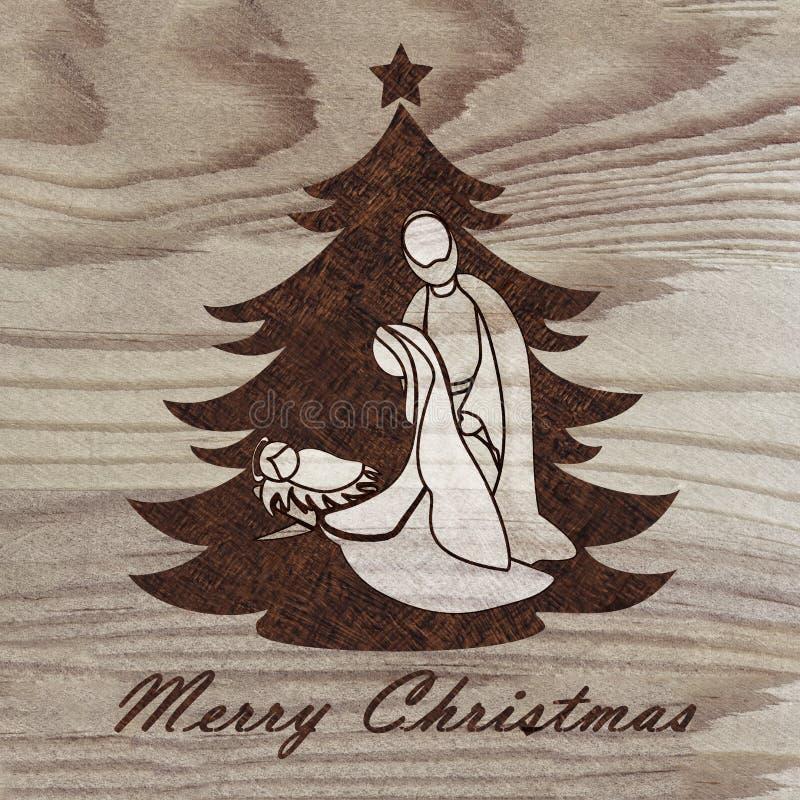Árvore de Natal com cena da natividade gravada na madeira com técnica do pyrography passatempo DIY Faça-o yourserlf imagens de stock