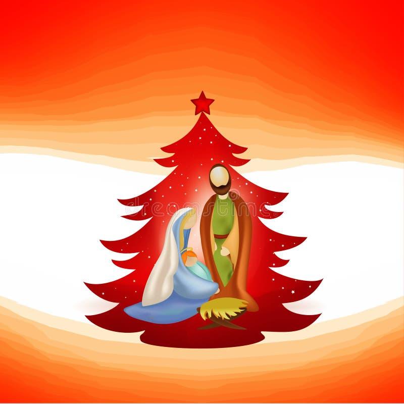 Árvore de Natal com cena moderna da natividade Joseph e Mary com Jesus em seus braços no fundo vermelho ilustração stock