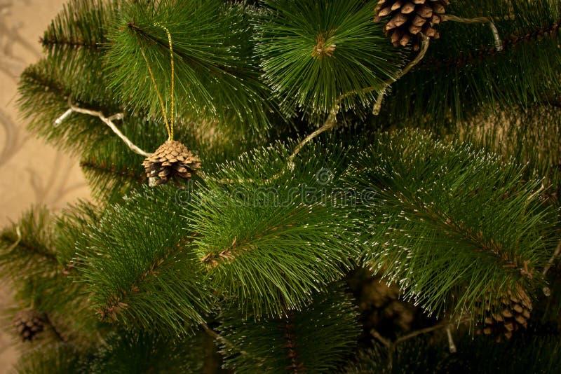 Árvore de Natal com cones e festão do pinho imagens de stock royalty free
