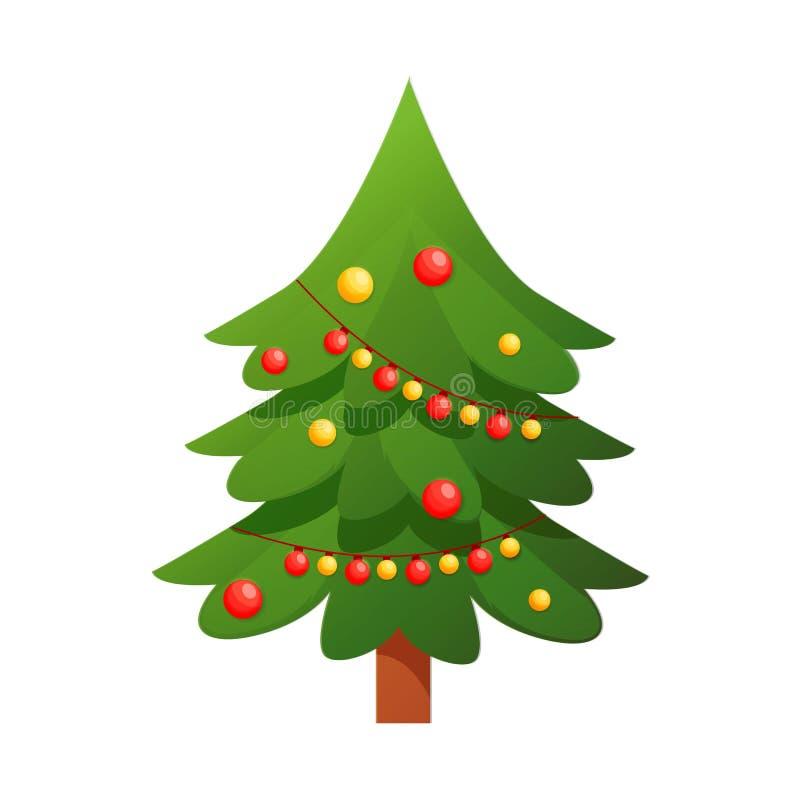 Árvore de Natal com árvore decorada, caixas de presente, bolas da decoração, lâmpadas ilustração do vetor