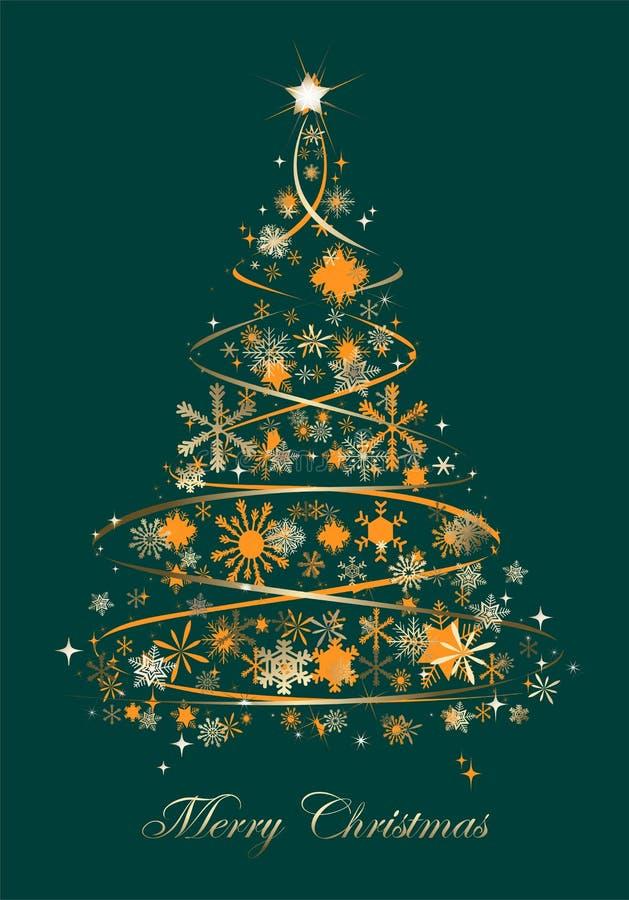 Árvore de Natal com estrelas alaranjadas e vetor dourado dos flocos de neve - vetor ilustração do vetor