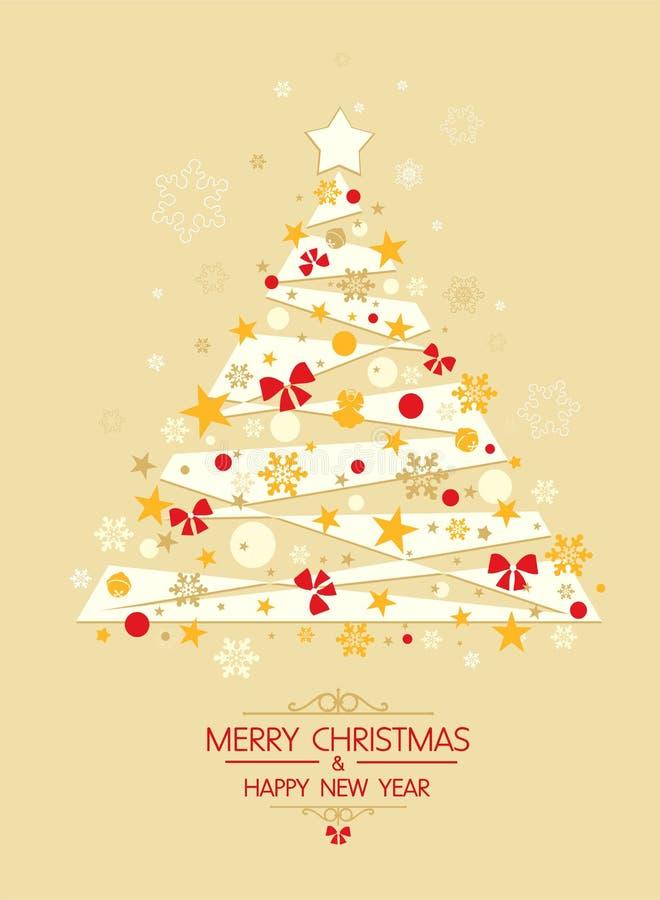 Árvore de Natal com estrelas alaranjadas e vetor dourado dos flocos de neve - vetor ilustração stock