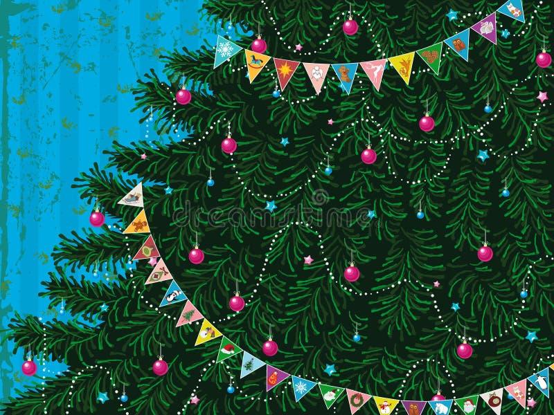 Árvore de Natal com festão ilustração do vetor