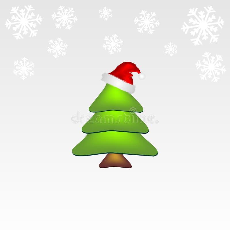 Árvore de Natal com flocos de neve ilustração stock
