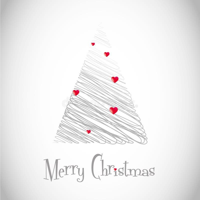 Árvore de Natal com lareira ilustração do vetor