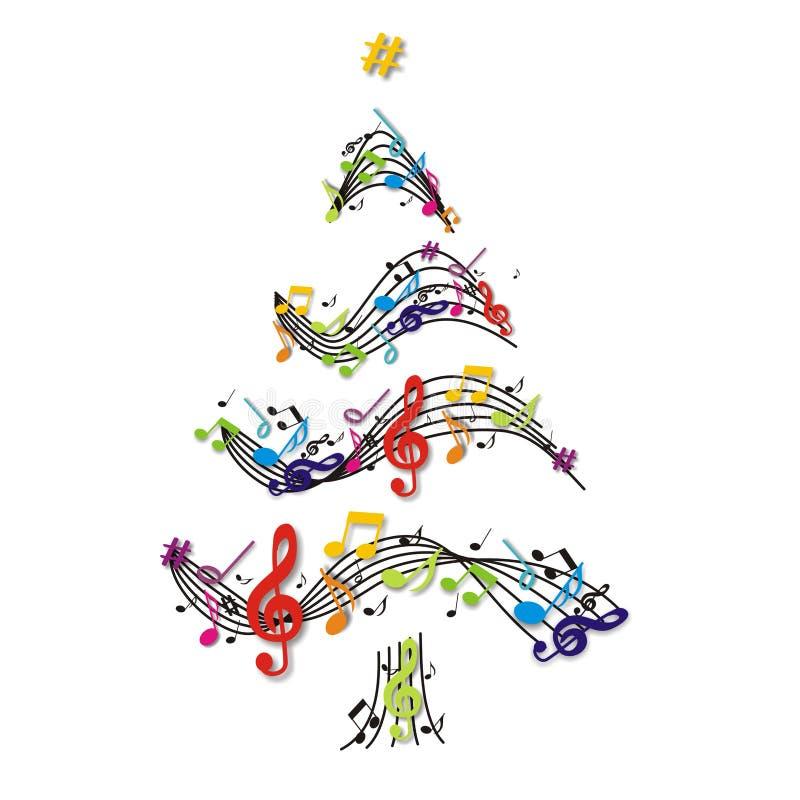 Árvore de Natal com notas ilustração stock