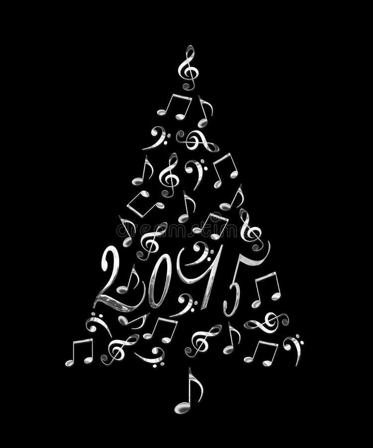 árvore 2015 de Natal com notas musicais ilustração do vetor