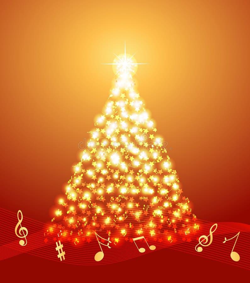Árvore de Natal com notas musicais ilustração do vetor
