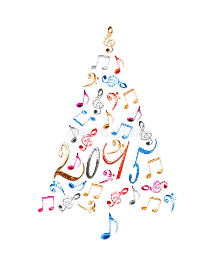 árvore 2015 de Natal com notas musicais do metal colorido fotografia de stock