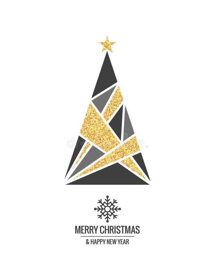 Árvore de Natal com ornamento do ouro e floco de neve do xmas no fundo branco ilustração stock