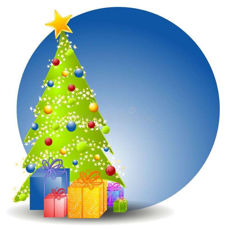 Árvore de Natal com presentes 2 ilustração stock
