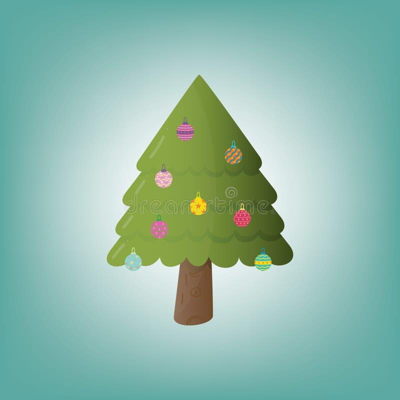 Árvore de Natal com presentes lisos coloridos decorados para o feriado Elementos do Natal e do ano novo para a decora??o Vetor ilustração do vetor