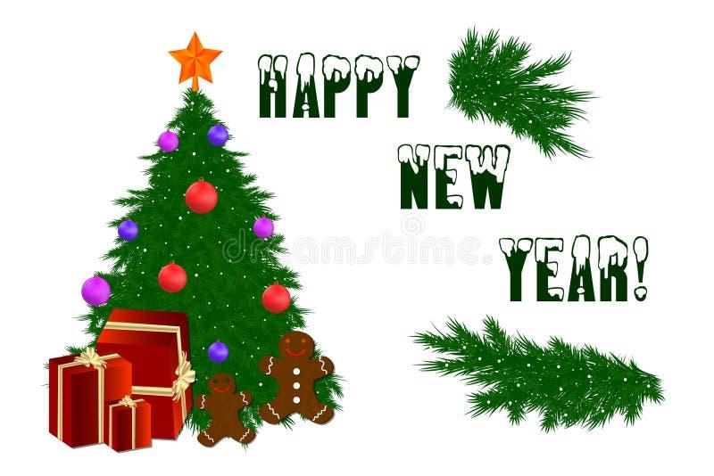 Árvore de Natal com uma estrela, bolas do ano novo feliz do Natal, neve ilustração do vetor