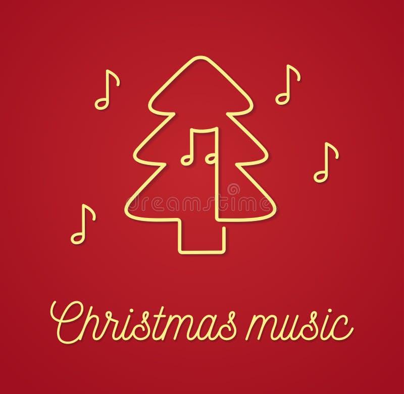 Árvore de Natal com vetor do logotipo do esboço das notas ilustração stock