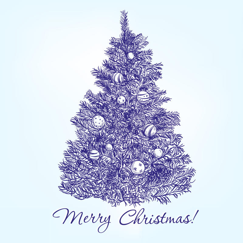 Árvore de Natal com vetor tirado mão das bolas ilustração royalty free