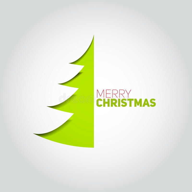 Árvore de Natal cortada do Livro Branco Elemento do projeto para o holida ilustração royalty free