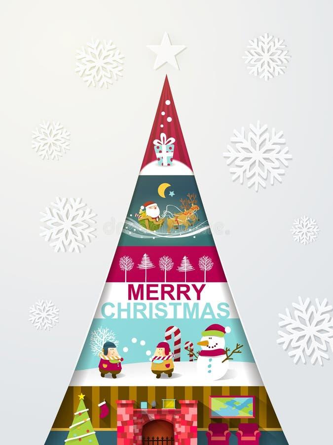 Árvore de Natal criativa do projeto moderno com vistas diferentes ilustração do vetor
