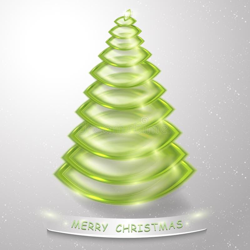 Árvore de Natal 3d estilizado Fundo abstrato do cartão da árvore de Natal ilustração stock