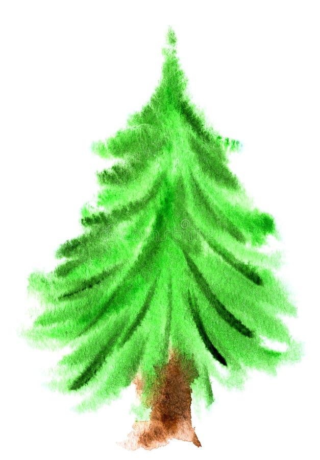 Árvore de Natal da aguarela ilustração royalty free