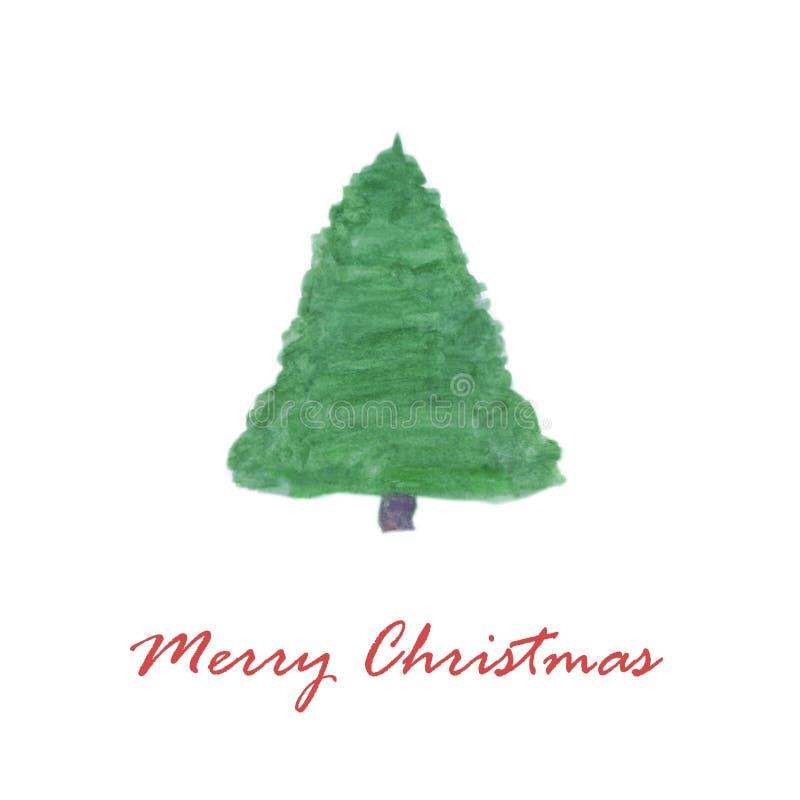 Árvore de Natal da aquarela do cartão do Feliz Natal ilustração do vetor